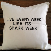 Shark Week Throw Pillow by SatMorningPancakes on Etsy