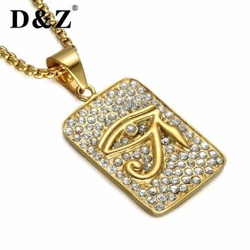 D&Z Vintage Gold Color Radiant Egyptian Eye Of Horus Pendant 316L