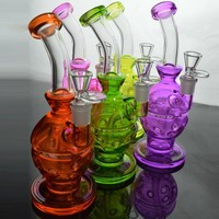 Faberge Egg Glass Bong Water Pipes 9 inch Fab Egg Rigs with Showerhead Percolator Recycler Egg Bong Heady Colored Fab Egg Thick Bongs