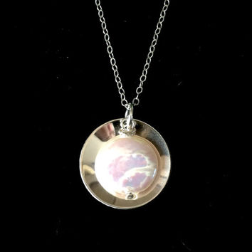 Beautiful Sterling Silver Circle and Freshwater Coin Pearl Necklace From Tickle Bug Jewelry. Perfect for Bridesmaids!