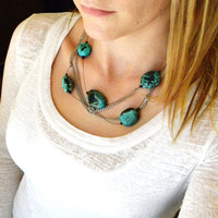 Turquoise Chunky Necklace, Black Necklace, Beaded Statement Necklace, Turquoise Necklace, Statement Necklace, Chain Necklace
