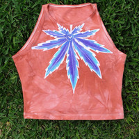 Terra-Cotta Purple Weed Spandex Crop Top