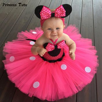 High Quality Minnie Dress Baby Girl Dots Birthday Party Dress Fancy Cosplay Costume Kids Girls Red Pink Tulle Cartoon Tutu Dress