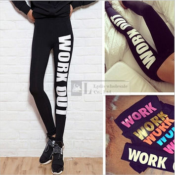 2014 New hot Work Out Print Black Soft Cotton Leggings Pants = 1930547140