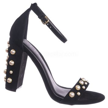 Morris136 Pearl Chunky Block Heel Sandal - Women Dress Ankle Strap Shoes