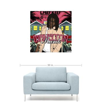 "Chief Keef - Mansion Musick Mixtape Cover 20"" x 20"" Premium Canvas Gallery Wrap Home Wall Art Print"