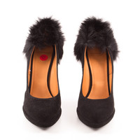 Black Suede Pumps with Fur Heel