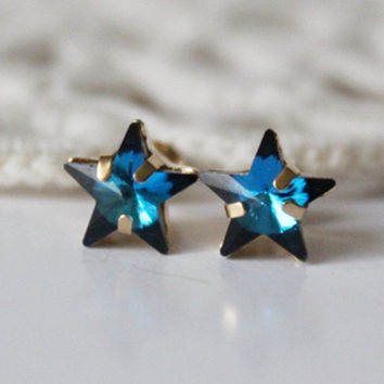 Star Stud, Swarovski Crystal, Bermuda Blue, Blue Stud Earring, Blue Star, Crystal Star Earring,