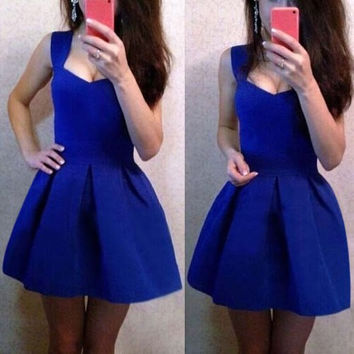 Blue Sweetheart Neck Mini Dress