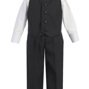 Boys Charcoal Grey 4-pc Vest & Trousers Dresswear Set 6m-14