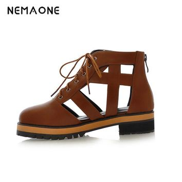 NEMAONE New summer ladies western style cut-outs lace up mid heels shoes large size 34-43