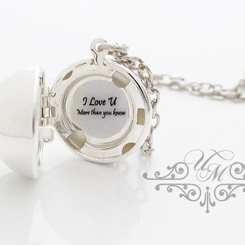 Free Text Message Necklace Message Jewelry Birthday Necklace Love message Necklace Valentine Gift Locket Necklace Locket Jewelry
