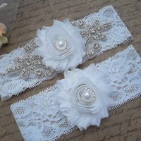 BELLE Style B-Wedding Garter Set, Bridal Garter, Stretch Lace Garter, White Garter Set, Flower Garter Set, Bridal Accessories