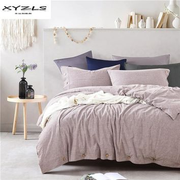 XYZLS 100% Linen Duvet Cover Set Modern Solid Color Bedding Sets Twin Queen King Size Quilt Cover Pillowcases Home Textile