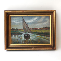 Vintage original oil painting country river sailboat scene