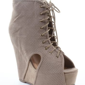 Tilda-07 Faux Suede Perforated Peep-Toe Wedge Bootie