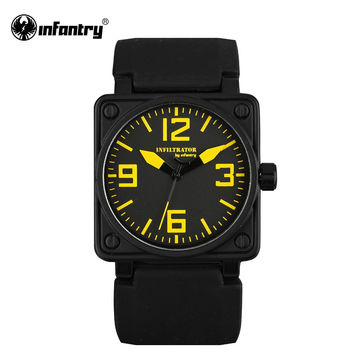 Mens Quartz-watches Military Square Face Watches Analog Male Clock Tactical Army Black Silicone Band