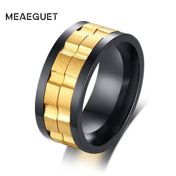2 Tones Gold Spinner Fidget Rings Mens Movable Gear Stainless Steel Silver Black Color Wedding Brands Male Anillos Punk Jewelry
