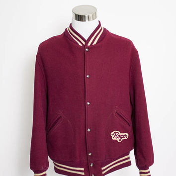 Vintage 1950s Letterman Jacket - Burgundy Wool Knit Varsity Jacket - Extra Large