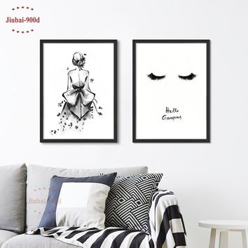 Black Watercolor Girl Canvas Art Print Painting Poster,  Wall Pictures for Home Decoration,  Home Decor S16059