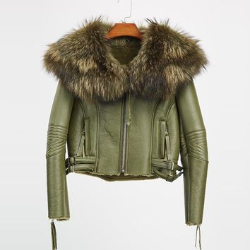 Real full sheepskin leather winter jacket women fur coats raccoon fur collar thick outerwear fashion outer genuine leather