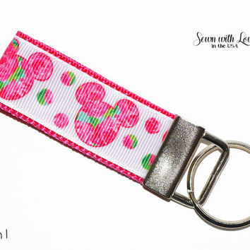 Lilly Pulitzer Inspired Mickey Mouse Ear Key Chains | Key Fob  Gift Idea | Teacher Gift | Gifts Under 10 | Sorority Gift | Disney