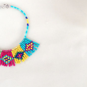 Tribal necklace - Seed bead colorful native necklace - multi color geometric ethnic necklace - ethnic bead necklace