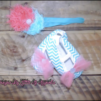 "Chevron Baby Shoes and Headband Set , Booties, Blue Baby Shoes,  ""I'll Go Sailing"""