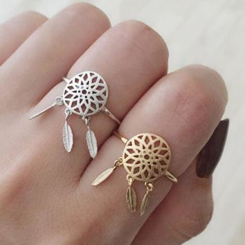 2017 New Fashion Gold Silver feather charm open-end dreamcatcher Rings For Women Dream Catcher Jewelry