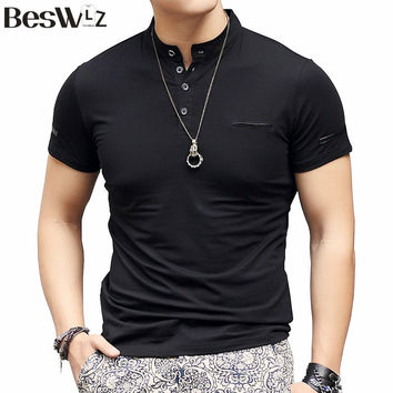 Men's Short-Sleeved Mandarin Collar Cotton T Shirt With Buttons