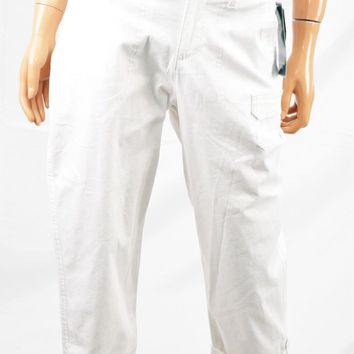 Lee Platinum Women's Stretch White Relaxed Fit Mid Rise Capri Cropped Jeans 8 M