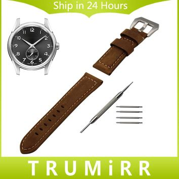 Italian Calf Genuine Leather Watch Band 22mm 24mm for Hamilton Men Women Wrist Strap Stainless Steel Buckle Bracelet Black Brown