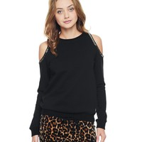 Pitch Black Open Shoulder Beaded Pullover by Juicy Couture,