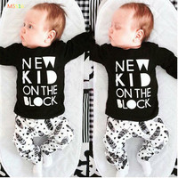 unisex long-sleeved printingT-shirt+pants 2pcs newborn bebe baby girl clothes