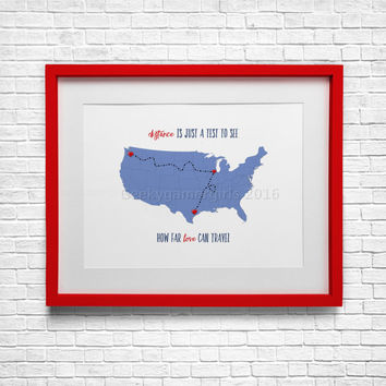 Distance is just a test   long distance family print   long distance friend poster   Custom friend gift