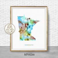 Minnesota State Minnesota Decor Minnesota Print Minnesota Map Art Print Map Print Map Poster Watercolor Map Office Poster ArtPrintZone