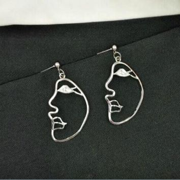 Silver Abstract Side Profile Face Earrings