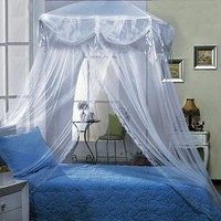 White four Corner Square Princess Bed Canopy By Sid