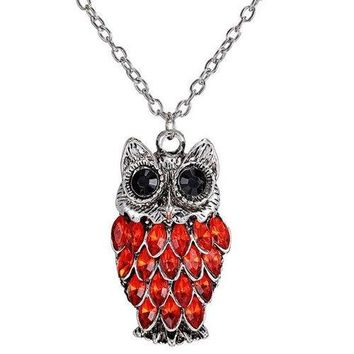 Rhinestoned Alloy Owl Pendant Sweater Chain - Red