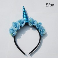 Flowery Unicorn Horn Headband in Blue