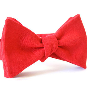 Red Linen Bow Tie Handmade by Lord Wallington / Men's Bow Tie / Christmas Bow Tie / Christmas Bow Ties For Men