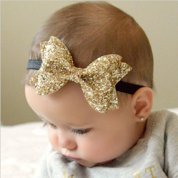 1pcs New Cut Baby Shiny Bow Knot Headband Girls Bow Elasticity Hair Band Infant Kids hair accessories W213