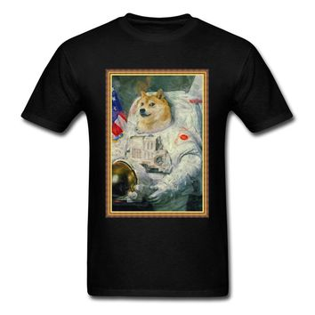 Lasting Charm Astronaut Doge Men Black Single Akita Dog Portrait Spaceman Short Sleeve Sports T-shirt Painting Shirts For Friend