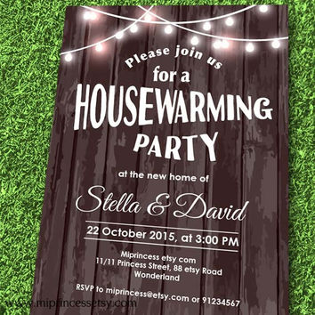 Wood Housewarming Invitation New house home sweet home Invitation Card | We have moved Invitation Card Design - card 554