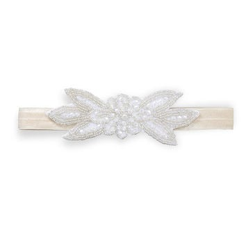 Beaded Floral Accent Headband - Ivory