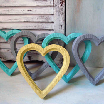 Set of 5 Painted Vintage Heart Frames, Aqua, Gray, Yellow Painted Homco Heart Frames, Teen Bedroom Decor, Dorm Room, Nursery Decor