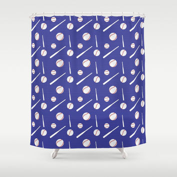 Baseball Bats and Balls Shower Curtain by pugmom4