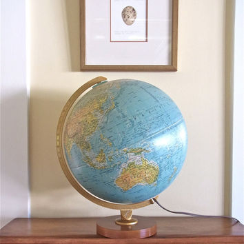 vintage light-up globe illuminated globe vintage globe illuminated globe 1980s desk globe nightlight