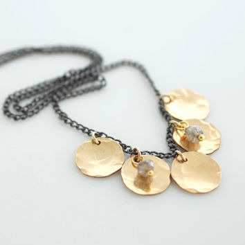 Gold Petal Necklace, Delicate Necklace, Layering Necklace, Minimalist Jewelry