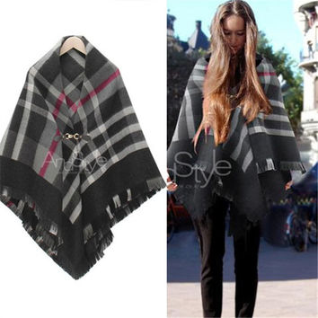 Winter Korean Stylish England Style Plaid Scarf Lovely Wrap Shawl Cape(126*132cm) [9572847183]